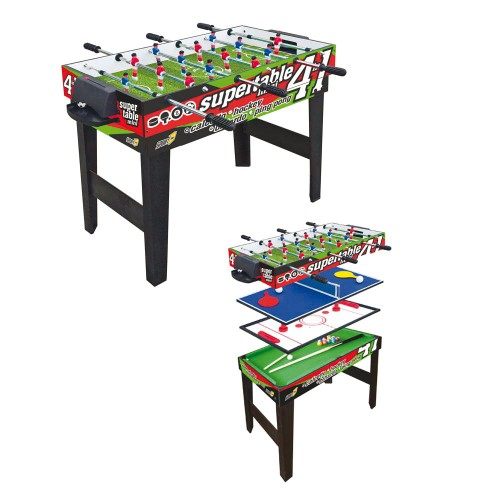 Biliardino Tavolo 4in1 Mini Calcetto Biliardo Ping Pong Hockey Aste Telescopiche