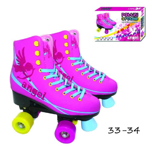 Pattini 4 Rotelle Angel 33-34 Roller Stivaletto Rosa Regolabili Freno Max 60 kg